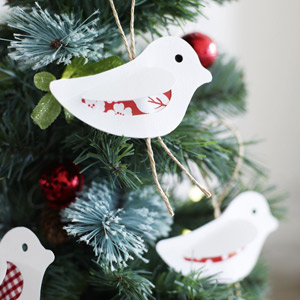 make christmas paper bird tree decorations
