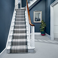 Geometric pattern stair carpet, 