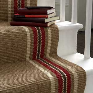 Beige hall stair carpet with coloured stripes at edge - hallway carpets - homes and UK decor - allaboutyou.com