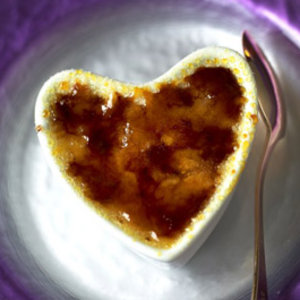 Vanilla brulee in a heart shaped bowl